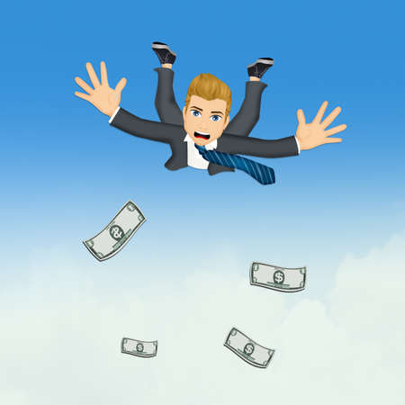 businessman jumping in the blue sky