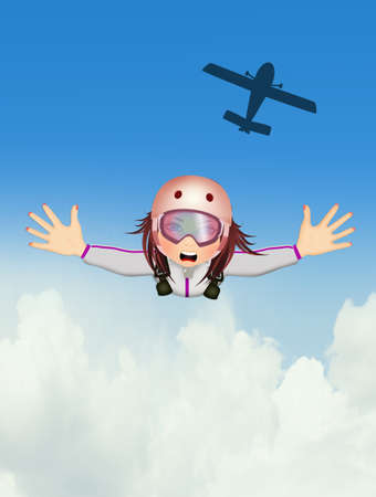 happy girl flying with parachute Stock Photo