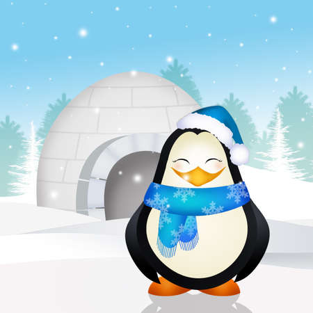 penguin in the igloo Stock Photo