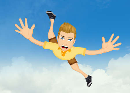 man throwing himself into heaven Stock Photo