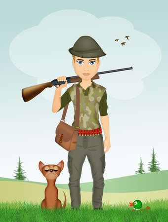 man hunter and dog Stock Photo