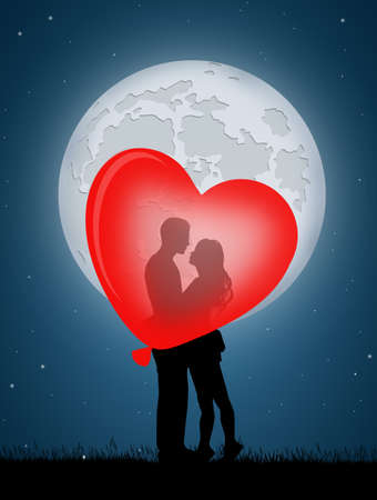 Pareja besándose en el corazón globo Foto de archivo - 88699707