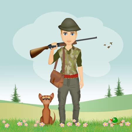 illustration of man hunter