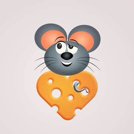 rat on slice of heart shaped cheese Stock Photo