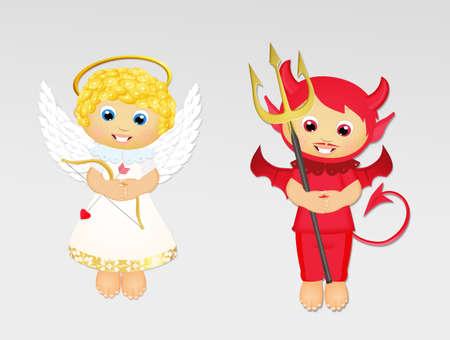 angel and devil cartoon Imagens