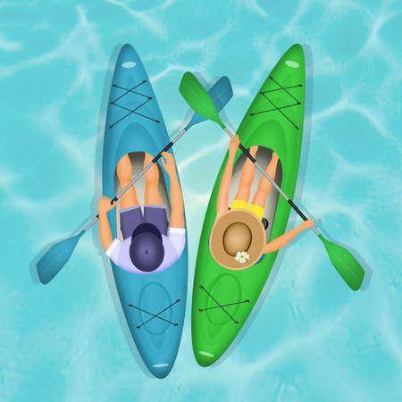 couple paddling in kayak Stock Photo