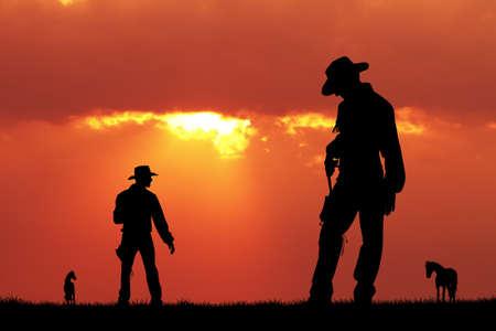 Duello di cowboy Archivio Fotografico - 89201936