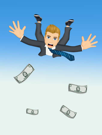 businessman with dollars jump