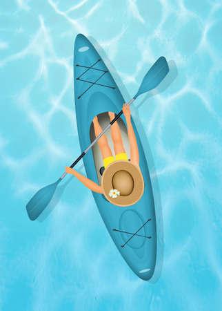 woman with a kayak