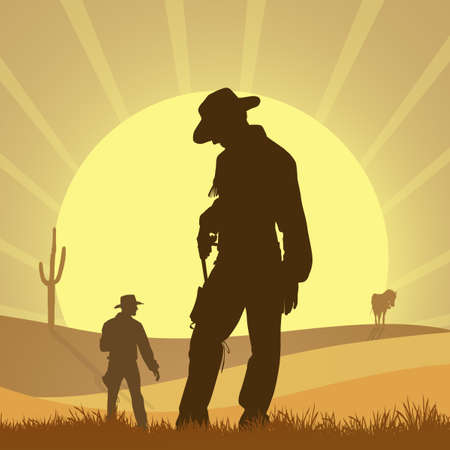 duel of cowboy in the desert