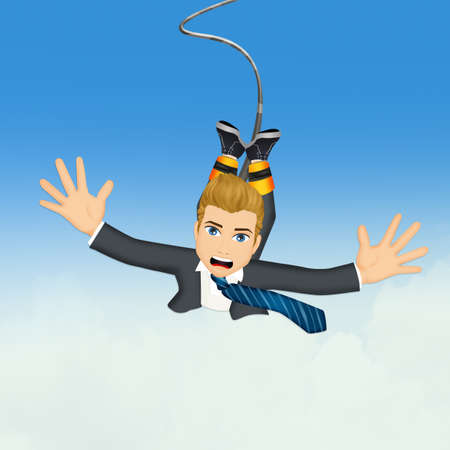 Businessman doing bungee jumping Stock Photo