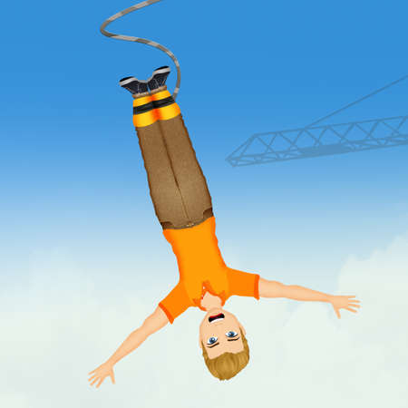 man doing a bungee jumping