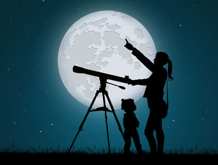 mother and child looking the sky with telescope