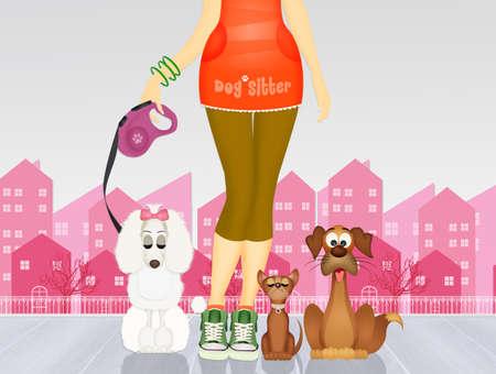 funny illustration of dog sitter