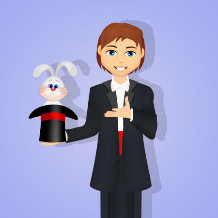 Magician with bunny in the magic hat