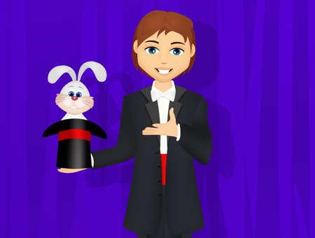 Magician in the magic show