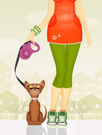 illustration of dog sitter girl