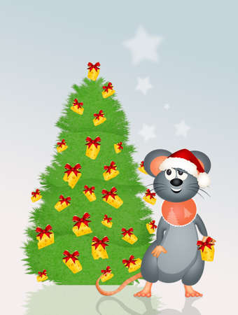 mouse and funny Christmas tree Stock Photo