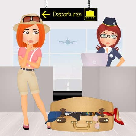 スーツケースいっぱい女性 写真素材
