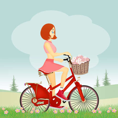 girl on bicycle Stock Photo