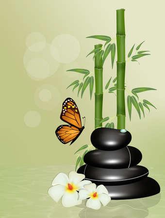 hot stone massage on wooden table Stock Photo