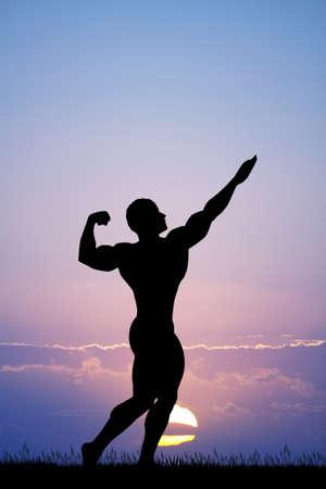 illustration of bodybuilder silhouette at sunset Banque d'images