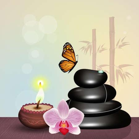 hot stone massage and candle Stock Photo - 91697719