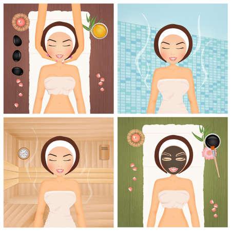 various treatments in beauty center Stock Photo