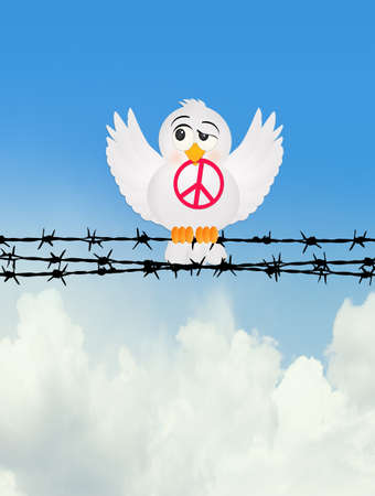 dove with peace sign on wire