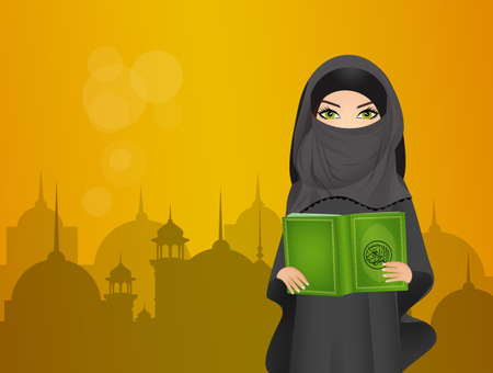illustration of Muslim girl with the holy book the Koran