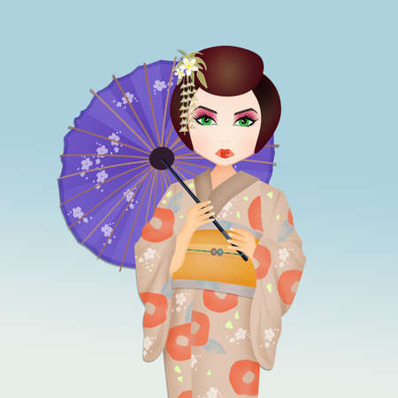 illustration of Geisha with umbrella