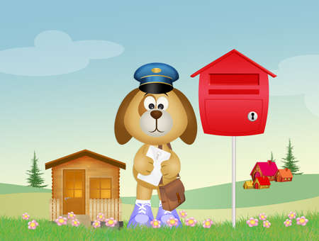 dog postman Stock Photo