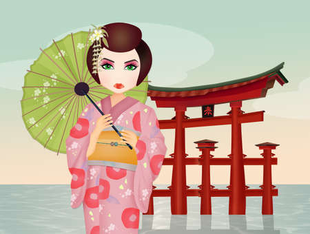 Geisha in the temple