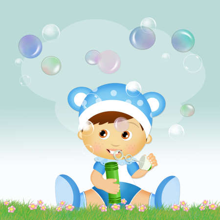 child with soap bubbles