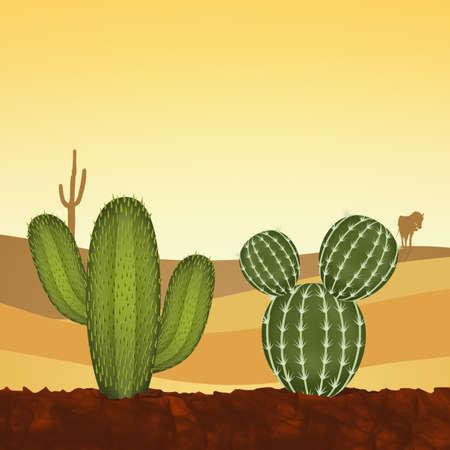 砂漠のサボテン植物