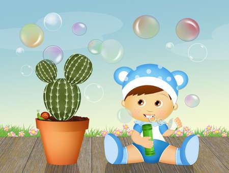 石鹸の泡を持つ子供 写真素材