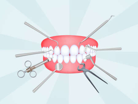 illustratie van mond met tandartshulpmiddelen Stockfoto