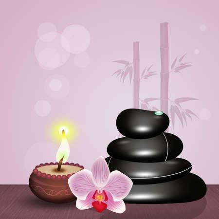 Massage aux pierres chaudes sur une table en bois Banque d'images - 92569932