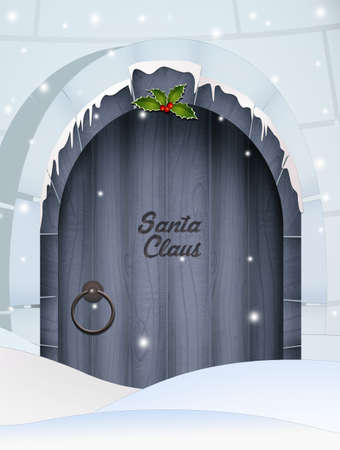 house of Santa Claus submerged in snow Stock Photo