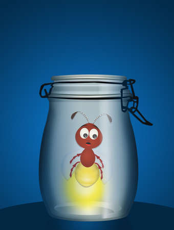 Firefly in the vase Stock Photo