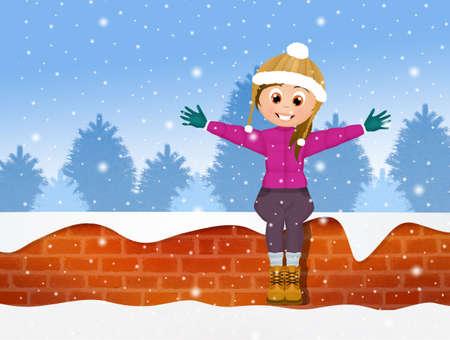 little girl on wall in winter