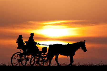 people on horseback carriage