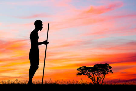 African men silhouette at sunset