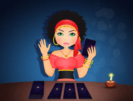 illustration of gypsy woman with tarot cards Stock Photo