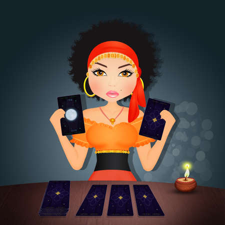 illustration of fortune teller with tarot Stock Photo