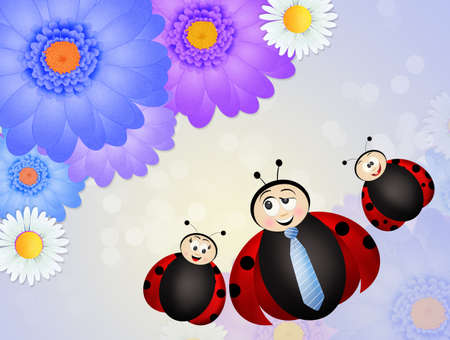 ladybug with tie for fathers day Stock Photo