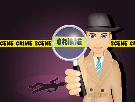 illustration of private detective Stock Photo