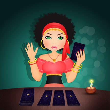 illustration of gypsy with tarot Stock Photo