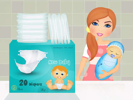 mom with baby diapers Stock Photo