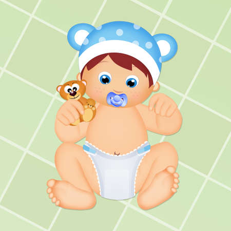 baby with diaper and teddy bear